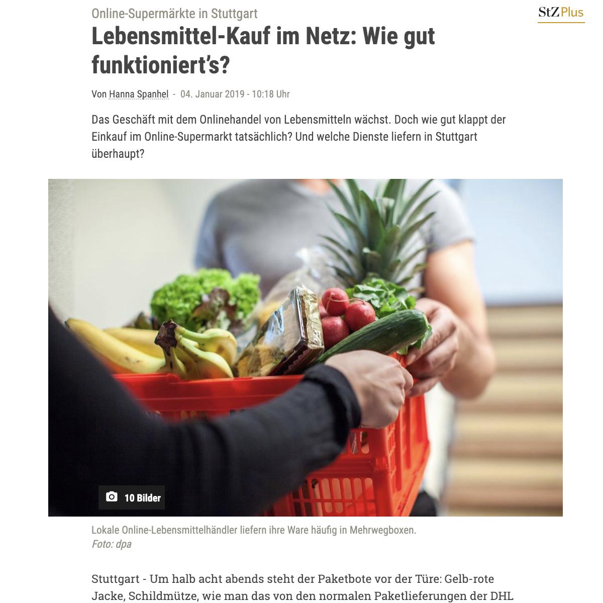 Screenshot Online Ausgabe Stuttgarter Zeitung
